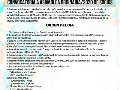 Convocatoria a Asamblea Ordinaria 2020