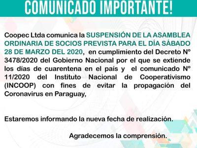 COMUNICADO SOBRE SUSPENSIÓN DE ASAMBLEA 2020 #QuedateEnCasaPy